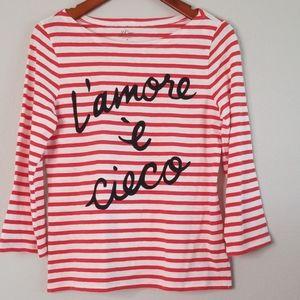 {J.Crew} Red & White l'amore è cieco T-shirt